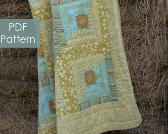 Uncle Henry's Log Cabin quilt - PDF instant download and a modern twist on a traditional quilt pattern - summer cottage quilt