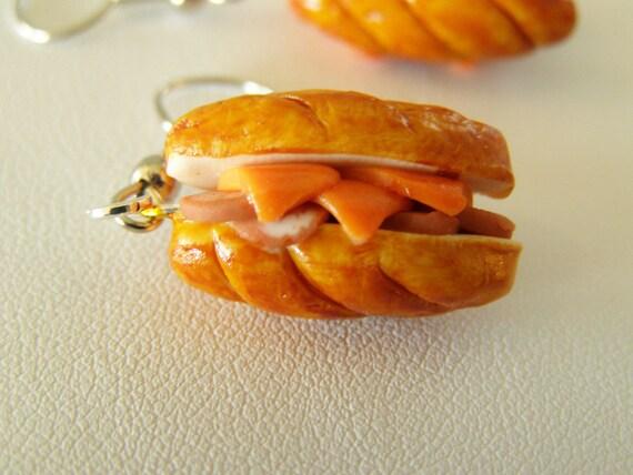 Sandwich earrings - food jewelry - polymer clay food earrings