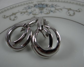 Trifari Silver Tone Circle and Drop Clip Earrings