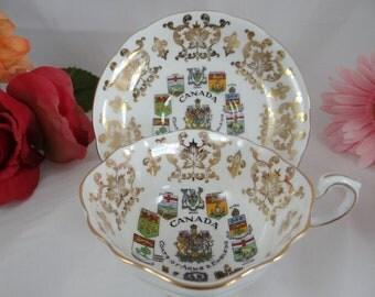 1960s Vintage Paragon English Bone China Canada Coat of Arms Teacup and Saucer - English Tea Cup