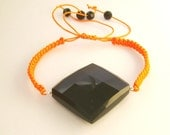 Halloween Black Onyx  Natural Stone Orange Macrame  Bracelet - Unisex