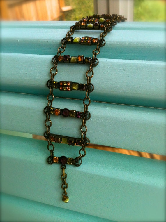 Mary DeMarco Bracelet, Early piece with Copper and Emerald tone Crystals