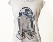 Classic Film Star Wars R2-D2 Robot T-Shirt Tee Tank Top Tunic Vintage Look One Size