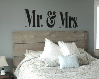 MR & MRS Vinyl Decal- Master Bedroom Decor, Modern, Sophisticated, Wall Art