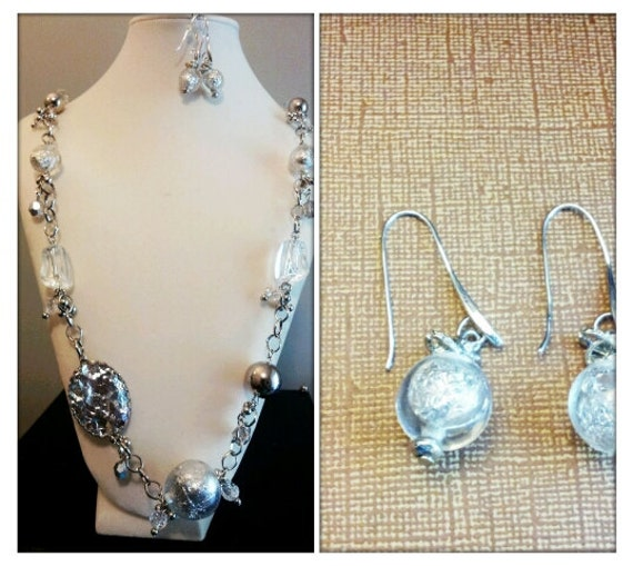 Silver Ice Bloom Necklace and Earring Set