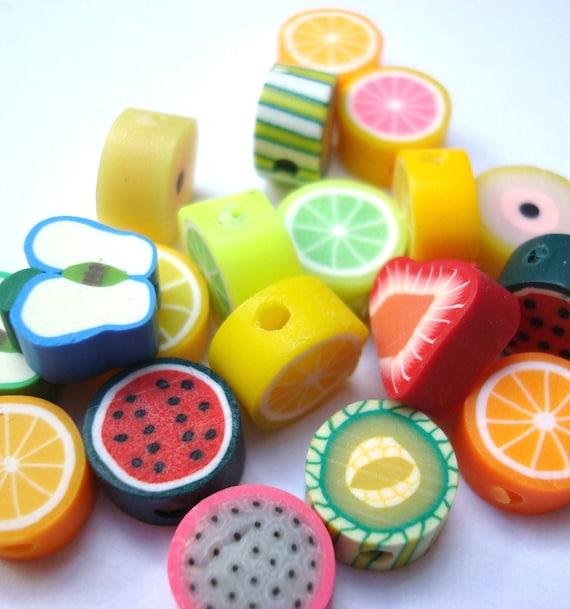 20 fruit shaped fimo beads