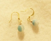 Aqua Blue Amazonite and gold earrings - unique stones with character, great summer gift