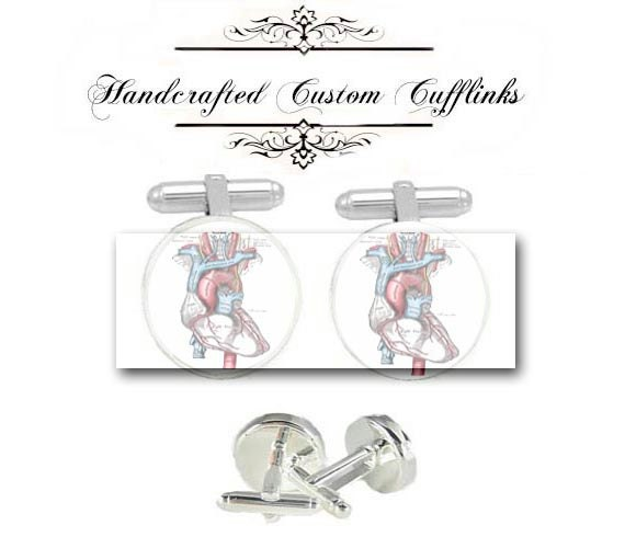 human anatomy heart doctor men Cufflinks groom groomsmen wedding Anniversary birthday graduation husband fiancée father gift cuff links