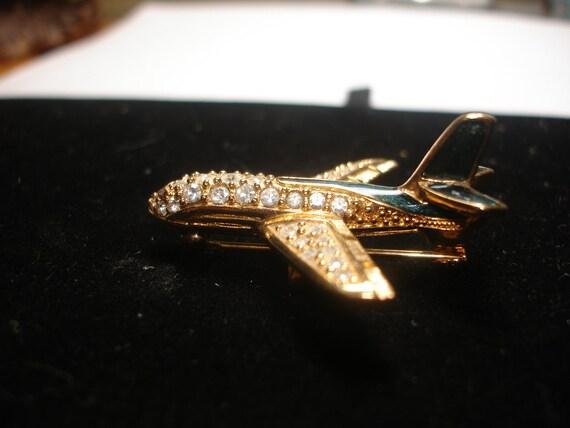 Enamel and Rhinestone Goldtone Airplane Brooch