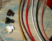 8 Feet, 3-Wire Cloth Covered Round Pulley Cord & Plug, Vintage Wire Kit, Lamp Electrical Cord, light socket wire