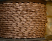 6 Feet: Brown Cotton Twisted Cloth Covered Wire, Vintage Style Cloth Lamp Cord, For Hanging Pendants, Trouble Lights etc