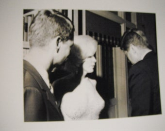 1960s candid photo of Robert Kennedy, Marilyn Monroe, and John F. Kennedy, reprint