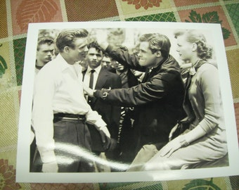 1950s photograph James Dean on set of Rebel Without a Cause during break, reprint