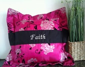 Inspirational Pillow - Faith Decorative Throw Pillow- Pink and Black Pillows - Customized Pillows -Embroidered Pillows
