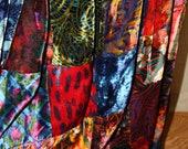 Vintage Bohemian Patch Work Velvet Multi-Color Gypsy Hippy Maxi Skirt
