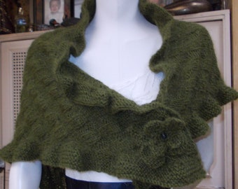 FALL ANGORA SHAWL ruffle Etole  Green style Kate Middeltown