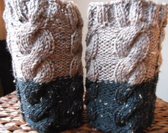 Hand Knitted Boot Cuffs Leg Warmers 2in1 Beige and Black Tweed