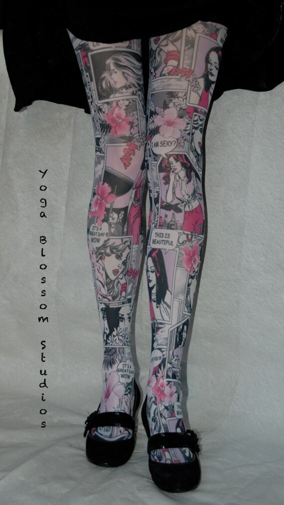 Comic Book Tights in pink, black and white