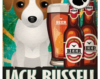 Jack Russell Drinking Dogs Original Art Poster Print - Personalized Dog Wall Art -11x14- Customize with Your Dog's Name - Dogs Incorporated