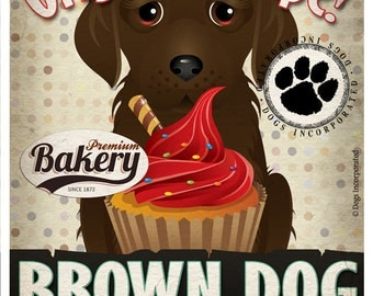Brown Dog Cupcake Company Original Art Print - Brown Dog Art - 11x14 - Personalize with Your Dog's Name - Dogs Incorporated