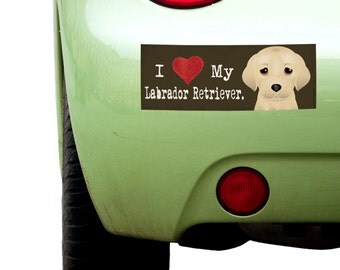 "Dogs Incorporated I Love My Labrador Retriever  - I Heart My Dog Bumper Sticker 3""x 8"" Coated Vinyl"