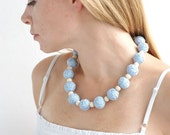 Blue chunky beads handmade necklace thread cotton for women lace textile wooden beads natural pastel christmas winter