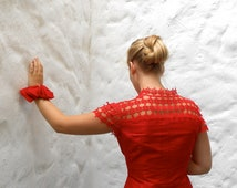 Scarlet red silk summer suit, jacket,  with hand tatted lace shoulder part - high fashion -haute couture