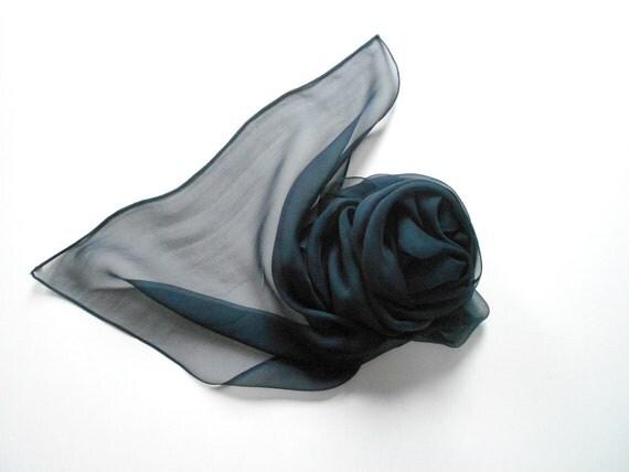 Navy silk scarf, dark navy blue silk shiffon scarf, french silk scarf