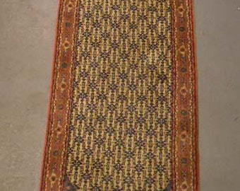 1980s Hand-Knotted, Vintage Indian Runner Rug