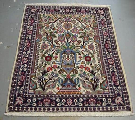 20% OFF SALE - 1980s Hand-Knotted Qum Garden Design Persian Rug