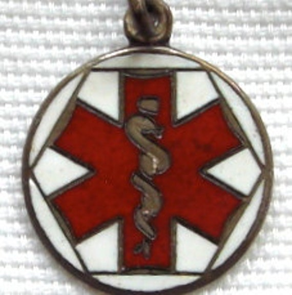 SET of Two (2) Vintage Enameled American Red Cross Home Nursing Pin and Sterling EMS Medical Charm