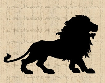Lion Silhouette JPG PNG Clip Art Digital Collage Sheet Image Instant Download Printable Graphics Iron On Transfer Fabric Pillows Animals 153