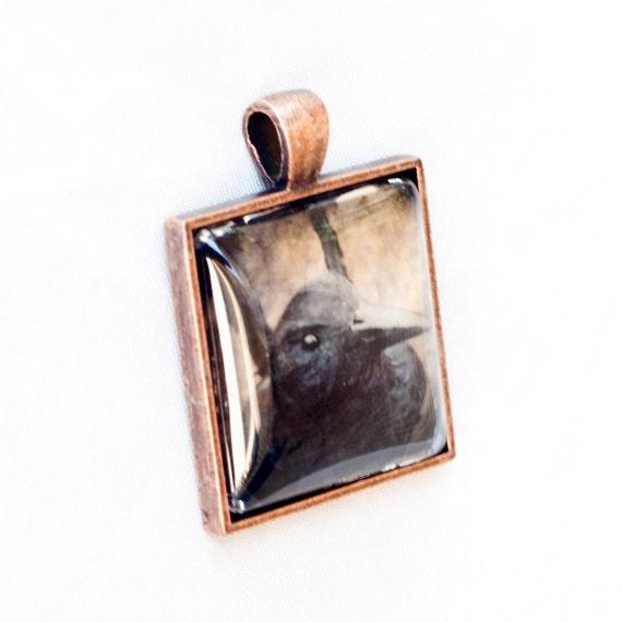 Halloween, Copper Wearable Art Pendant, The Raven, Black Crow Photo, Photography Pendant