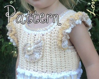 Pattern for Little Sea Shell on the Sand, Little Girl's Beachy Crochet Tank Top with Ruffle Sleeves and Sea Shell Hair Accessory