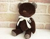 Vintage Teddy Bear Brown Velvet