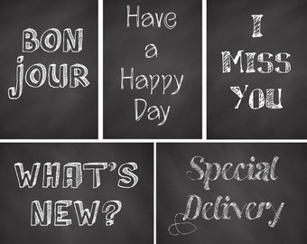 Chalkboard Greeting Postcards - set of 5 postcards for postcrossing