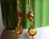 Vintage Topaz Faceted Quartz Crystal With Faceted Amber Quartz Crystal  Dangle Beaded Earrings