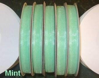 "MINT GREEN ORGANZA Ribbon Spool Roll Sheer Edged 1/4"" X 25 Yards 21 Colors"