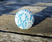 Bright blue ring white lace overlay adjustable solid turquoise teal fabric button pattern pretty round unique handmade