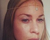Bridesmaids: Gold Chain Headband Headpiece with Aqua briolette glass bead