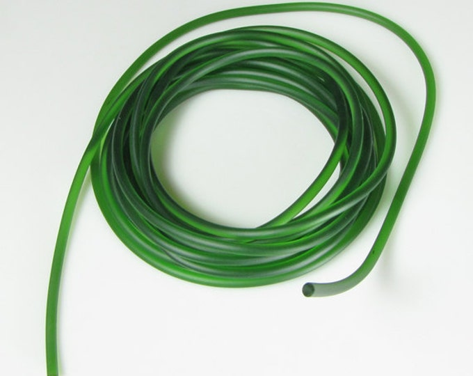Rubber cord 3mm dark olive green, solid, 10 feet