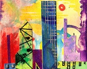 """Metro- 4"""" x 4"""" Acrylic and Collage on Canvas- A city scape with a twist"""