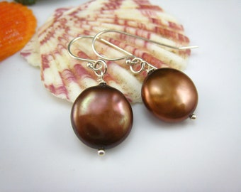 bronze freshwater pearl earrings