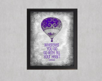 Purple - Go With All Your Heart - photographic print - Hot Air Balloon Texture Distressed Decor Teen Girl Room Wall Art Inspirational Quote