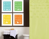 Childrens Kids Bathroom Art Print Set of (4) Fine Art Home Decor 8 x 10 Each Print Blue Green Yellow Orange
