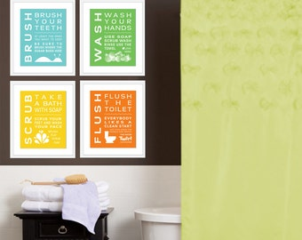 Childrens Kids Bathroom Art Print Set of (4) Fine Art Home Decor 8 x 10 Each Print Blue Green Yellow Orange