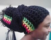 Rasta Crochet Head Wrap with wrap around tie