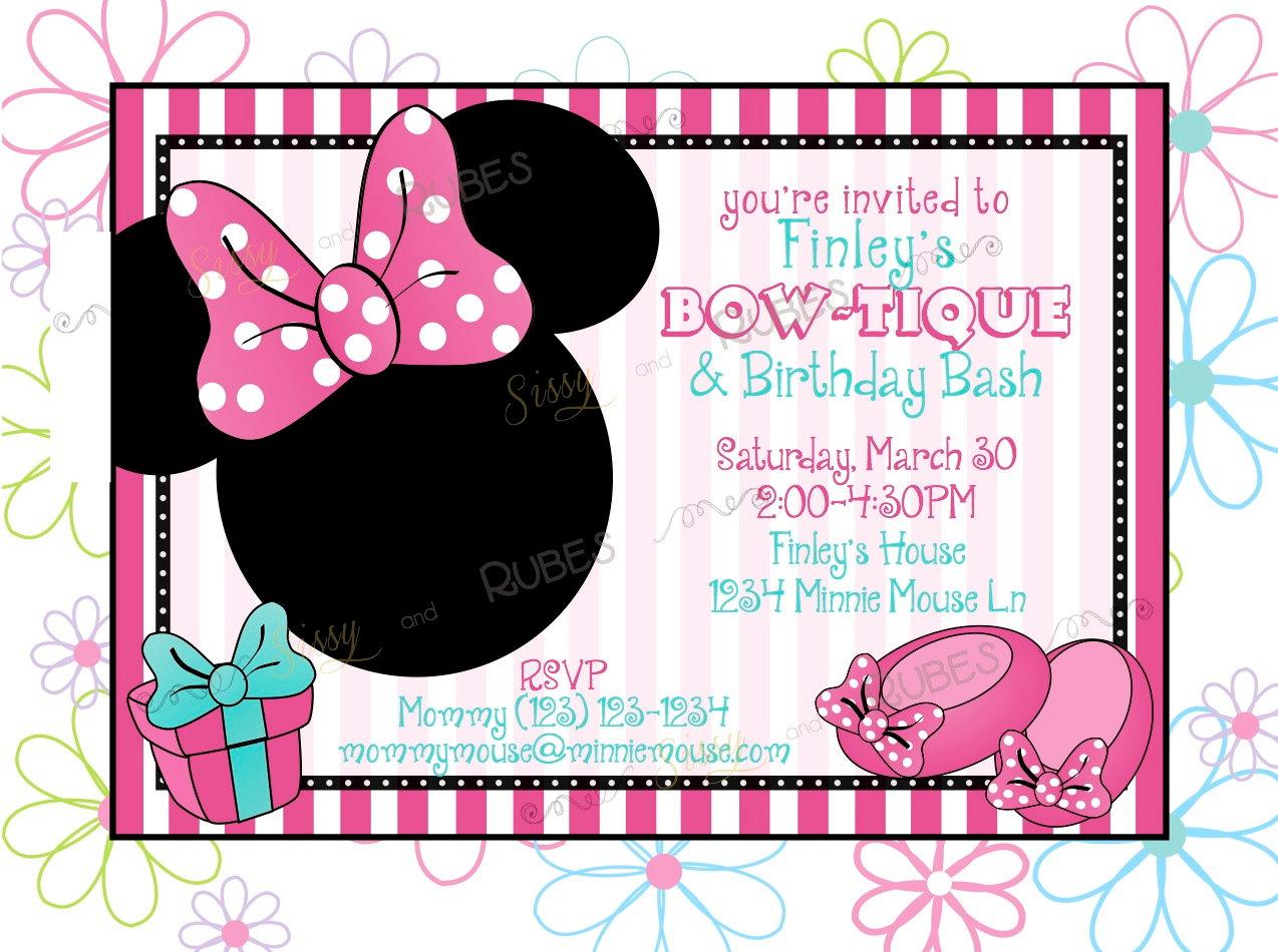 Minnie Mouse Birthday Invitations Templates - Mickey mouse birthday party invitation templates