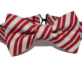 Bow Tie - Red and White Striped Bowtie