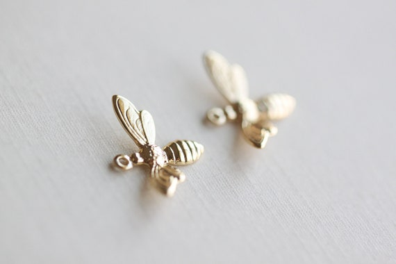 Gold Bumble Bee Charm - vermeil 18k gold plated over sterling silver, insect nature charm
